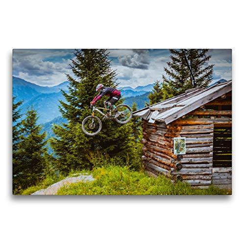 Premium Textil-Leinwand 75 x 50 cm Quer-Format Downhill Action | Wandbild, HD-Bild auf Keilrahmen, Fertigbild auf hochwertigem Vlies, Leinwanddruck von Dirk Meutzner