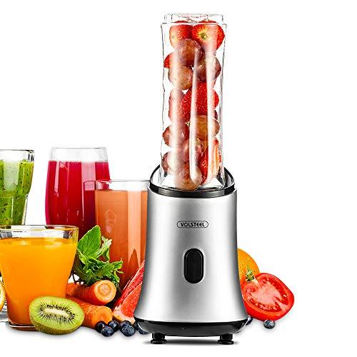 Volsteel Zitruspresse Mixer Smoothie Maker BL101 Mini Blender 5 Minuten für einen Saft mit Blender attachment 300 ml/600ml, BPA free, Klingenset für Obst & Gemüse, Automatische Sicherheitsabschaltung