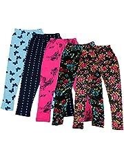 IndiWeaves Girl's Regular Fit Leggings (Pack of 5)