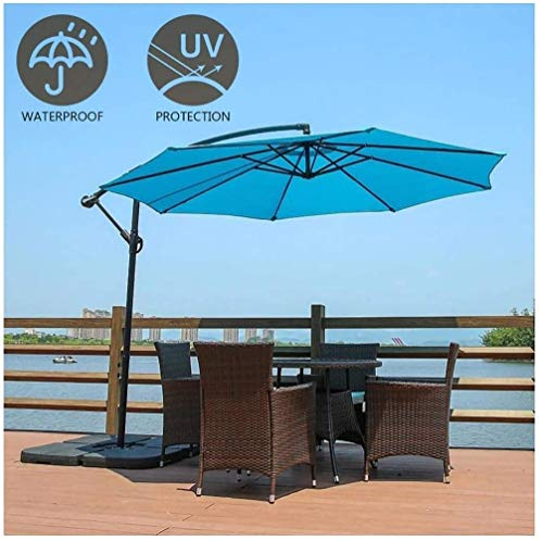 Parasolparasol Garden & Outdoors Garden Parasol 3m Large Cantilever Parasol with Crank Handle, 48mm Pole Diameter, Iron Cross Holder, Steering Design, for Outdoor Garden Balcony Patio ( Color : Blue )