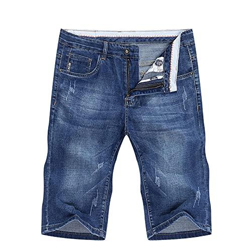 HSDFKD Pantalones Cortos para Hombre Elasticity Blue Pantalones Cortos De Mezclilla con Bolsillos Rayados Slim Fit, Azul, 34