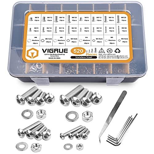 VIGRUE 520PCS M3 M4 M5 M6 A2-70 Edelstahl Schrauben Linsenkopfschrauben Edelstahlschrauben Maschinenschrauben Schraube Muttern und Unterlegscheiben Sortiment Kit mit Aufbewahrungsbox (Schwarz )