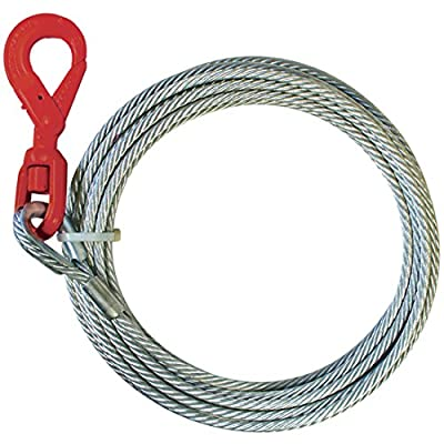 Vulcan Classic Galvanized Steel Core Winch Cable With Self-Locking Swivel Hook - 15,100 lbs. Minimum Breaking Strength