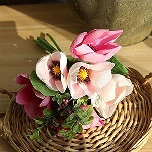 TRRT Fake Plants Artificial Magnolia Silk Flowers Bouquet, Home Decor Wedding DIY Decoration Fleur Artificielle Fake Flower Fake Flower