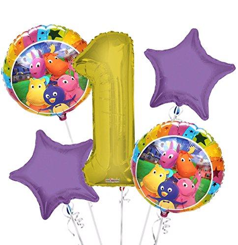 Backyardigans Balloon Bouquet 1st Birthday 5 pcs - Party Supplies