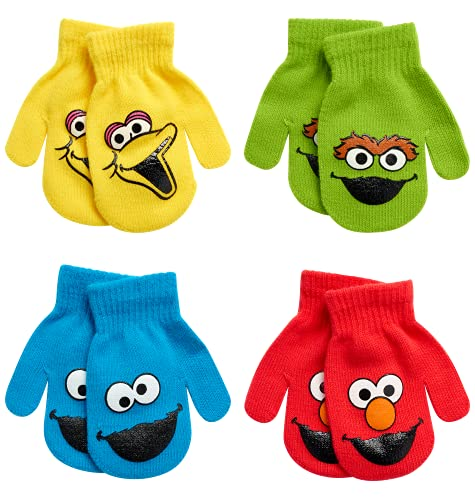 Sesame Street Elmo 4 Pack Mitten Set (Toddler), Size Age 2-4, Sesame Street Characters