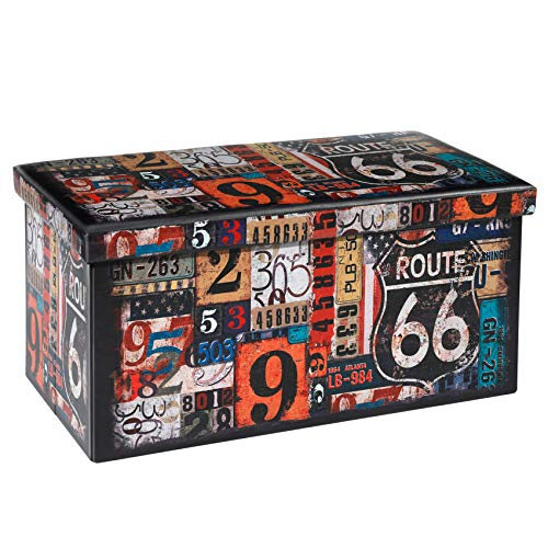 Bonlife Sitzhocker mit Stauraum Faltbarer Sitzbank Retro Aufbewahrungsbox Organizer Box Faltbar Sitzbank Kinder Farbig 76 x 38 x 38 cm