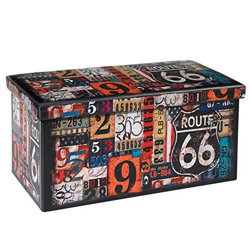 Bonlife Pieghevole stoccaggio ottomano Doppio Sedile poggiapiedi Toy Box Panca a Due posti in Ecopelle (76 x 38 x 38 cm)