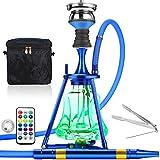 ADMY Hookah - Juego de shisha de 45 cm de aluminio + luz LED, pipa de agua, juego completo con cabezal de acero inoxidable, tubo de silicona, boquilla de aluminio (azul oscuro)