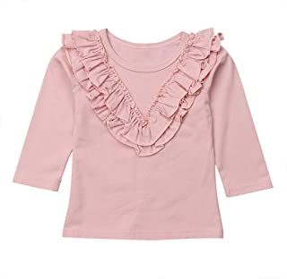 UNIQUEONE Toddler Baby Girls Ruffle Long Sleeve T-Shirt Solid Color Tee Casual Fall Winter Tops Tee