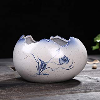 yozhohoo Lotus Hand Painted Ceramic Succulent Pot, Cactus Planter Orchid Flower Pots, Chinese Style Decor Herb Plant Holder for Indoor Home Garden Office Bonsai Container (Cracked EggShaped)