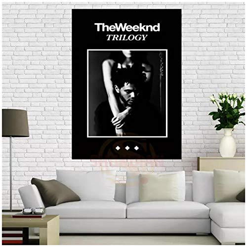 KONGQTE The Weeknd Trilogy Music Poster Home Decoration Cloth Fabric Wall Poster Print Fabric Print on The Wall -20x28 inch No Frame