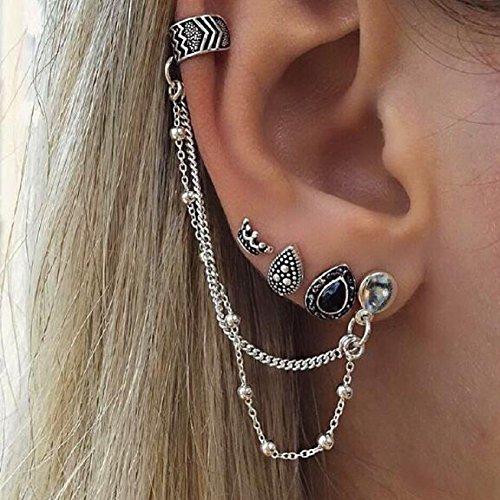 Cheap4uk Pendientes de tuerca, diseño bohemio de plata envejecida, para mujeres y niñas, 4Pcs/Set,Crown