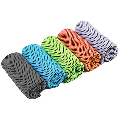 (Vizor) Cooling Towel Sports Towel Yoga Towels Ice Towel Microfiber Towel for Yoga,Sport,Running,Gym,Workout,Camping,Fitness(5 Packs, 5Colors)