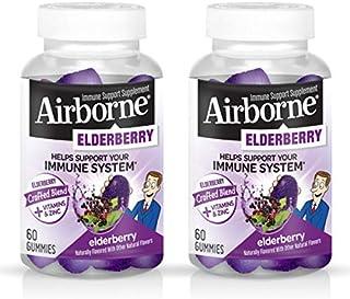 Elderberry + Vitamins & Zinc Crafted Blend Gummies, Airborne (60Ct), Gluten-Free Immune Support Supplement with Vitamins C...