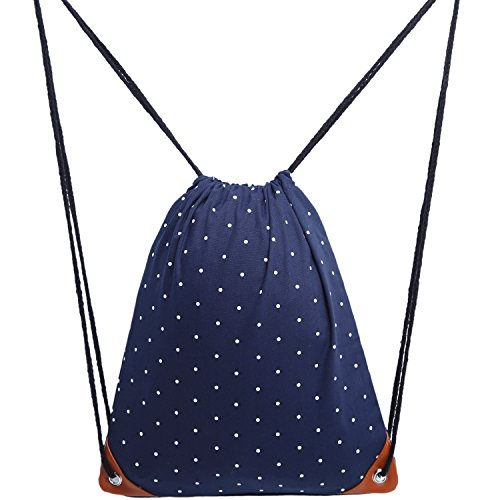 Cosyres Polka Dot Drawstring Backpack Gym Sport PE Bags for Women/Girls Canvas with Pockets Dark Blue