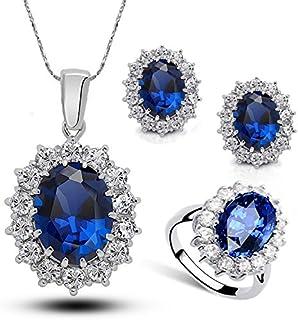 Vercico da Principessa Verde Zaffiro Ciondolo Collana Orecchini Anello Set Donne High-grade Crystal DRI, Profondo blu