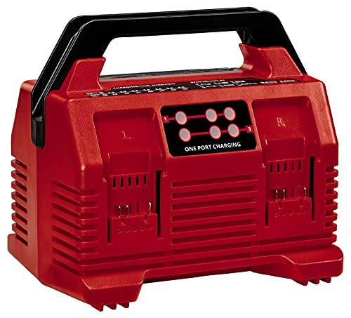Einhell Original Ladegerät Power X-Quattrocharger 4A Power X-Change (Li-Ion, 18V, gleichzeitiges Laden von 2x2 Akkus, Akkuüberwachung, intelligentes Lademanagement, 6-fache LED-Zustandsanzeige)
