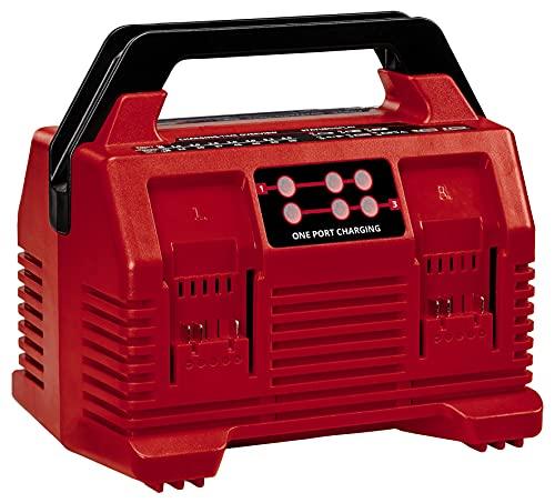 Original Einhell Power X-Quattrocharger 4A Power X-Change (iones de Li, 18V, carga simultánea de 2x2baterías, supervisión de batería, gestión de carga inteligente, indicador LED de 6 estado)