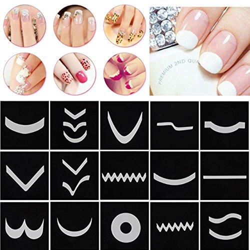 CCbeauty French Nail Manicure Schablone Halbmond Französisch Nagel Kunst Sticker für Maniküre Dekoration Manicure Template Sticker Decals Nail Zubehör