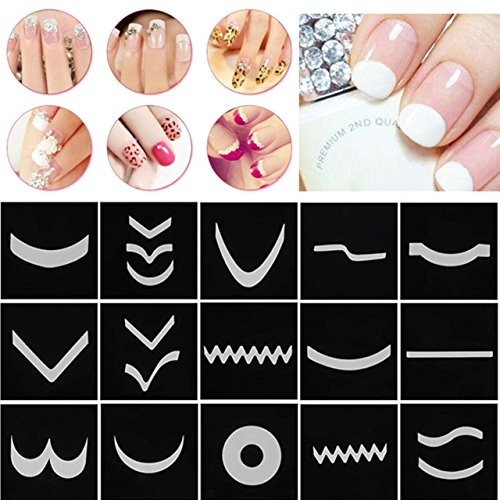 CCbeauty French Nail Stickers Nail Art DIY French Tip Guides French Manicure Template Sticker Decals Nail Accessories (18 Sheet/Pack)