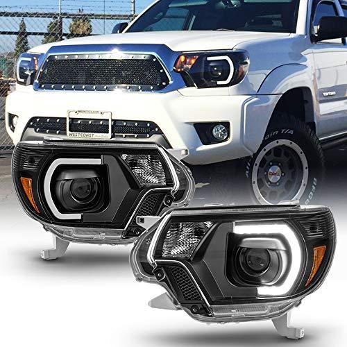 ACANII - For 2012 2013 2014 2015 Toyota Tacoma Pickup Black Housing LED Tube Projector Headlights Headlamps Left+Right