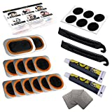 Taoanlo Bike Tire Patch Repair Kit, Portable Bike Tire Patch - with 12 PCS Vulcanized Patches, 6 PCS Pre Glued Patchs, Metal Rasp and Lever, for Bicycle, BMX, Motorcycle and Inflatable Rubber