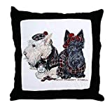 two cute scottie dogs on a decorative throw pillow