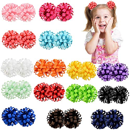 30PCS/15Pairs Baby Girls Elastic Hair Ties 3Inch Grosgrain Ribbon Hair Bows with Ties Kids Children Rubber Bands Ponytail Holders For Baby Girls Teens Toddlers