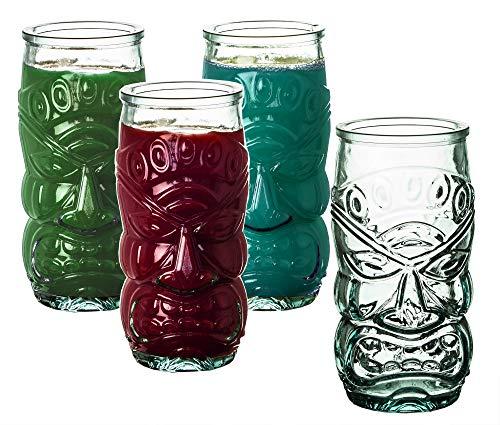 BigDean 4X Trinkgläser im Tiki-Look Hawaii-Design 550 ml - Made in Spain - Aus 100% Recycling-Glas - Ideale Dekoration für Sommer-Partys - Für Cocktails, Softdrinks, Alkohol, Säfte & andere Getränke