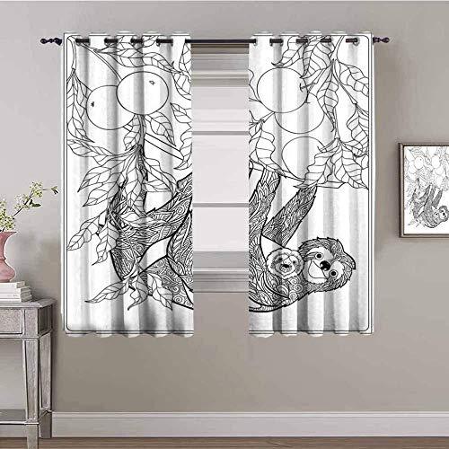 Nileco Cortinas Opacas Termicas - Abstracto animal fruta rama - 160x115 cm - Cortinas del Dormitorio de la Habitación de los Niños - 3D Impresión Digital con Ojales Aislamiento Térmico