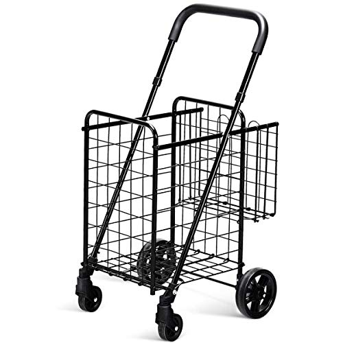 Goplus Folding Shopping Cart Double Basket Perfect for Grocery Laundry Book Luggage Travel with Swivel Wheels (Black)