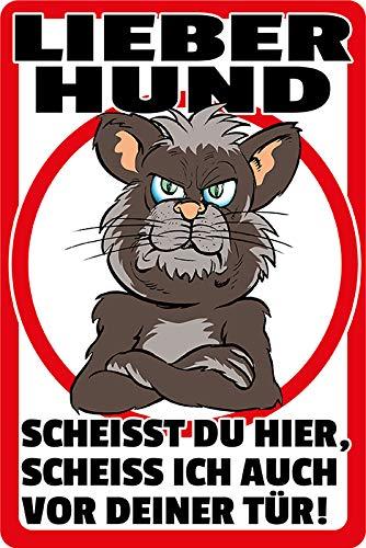 FS spreuk liever hond. schot ik ook voor je deur! Waarschuwingsbord metalen bord bordje gewelfd metaal sign 20 x 30 cm