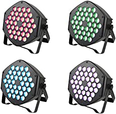 Led Stage Lights, ZJ RIGHT Party Lights 36x1W LED Full Color RGB, Sound Activated 7 Modes DJ Uplighting with Remote Control Equipment for Club Wedding Birthday Party Indoor Event Dance (4 Pack)