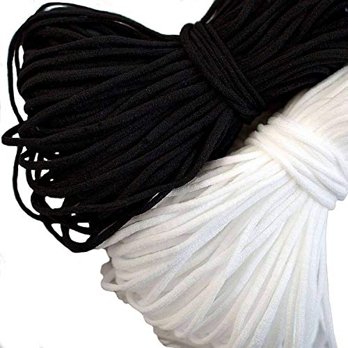 Black Round Elastic String Cord Earloop Bands for Face Masks Making Supplies Sewing Craft Project Straps Trim for Crafting Thin Soft & Stretchy 1/8 30YARD