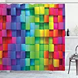 ABAKUHAUS Duschvorhang, Geometrisches Design Regenbogen Farben Quadratisches Muster Lebhaft Digital Moderne Kunst Druck, Wasser & Blickdicht aus Stoff mit 12 Ringen Schimmel Resistent, 175 X 200 cm