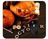 Professional Mousepad Jack-O'-Lantern Halloween Pumpkin Leaves Autumn Candle Fog Computer Desk Mat