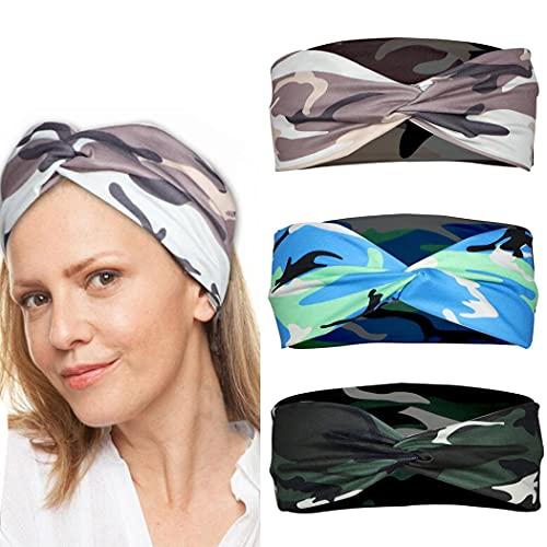 Yean Diademas de camuflaje para el cabello entrecruzado, transpirable, para entrenamiento, banda elástica para el pelo, accesorios para mujeres y niñas (paquete de 3)