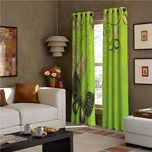 SOSO-LALEO Green Blackout Curtains - Gasket Insulation Floral Spring Theme with Vintage Style Butterflies Abstract Composition W72 x L72 Inch Apple Green Gold Black
