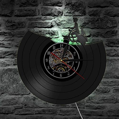 Reloj de Pared de Motocicleta de Vinilo Retro, Arte de Transporte de Scooter, decoración del hogar, Ciclistas, Pilotos, Regalos con LED