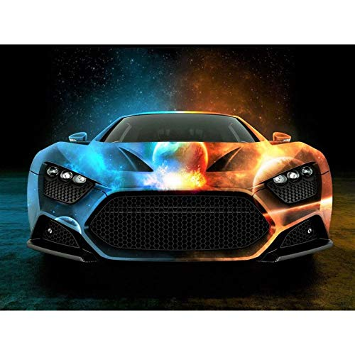 wZUN Colorful car sports car mural art vehicle poster print canvas track racing sport canvas painting living room bedroom 60x80 Frameless