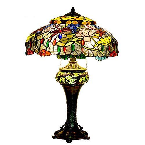 Dightyoho Lámpara Escritorio Lámpara de Mesa de Cristal Retro de 18 Pulgadas Lámpara de Mesa de salón clásica de Loto LED (Color:Natural) (Color : Natural)