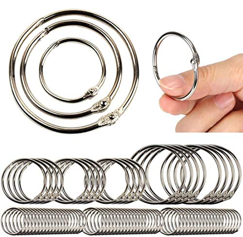 Book Ring, 85pc Assorted Sizes(1,1.5,2 Inch) Loose Leaf Book Rings Binder Ring, Office Book Rings, Key Rings, Metal Book Rings, for School and Office