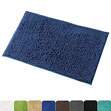 Mayshine 20x32 inch Non-slip Bathroom Rug Shag Shower Mat Machine-washable Bath mats with Water Absorbent Soft Microfibers of - Dark Blue