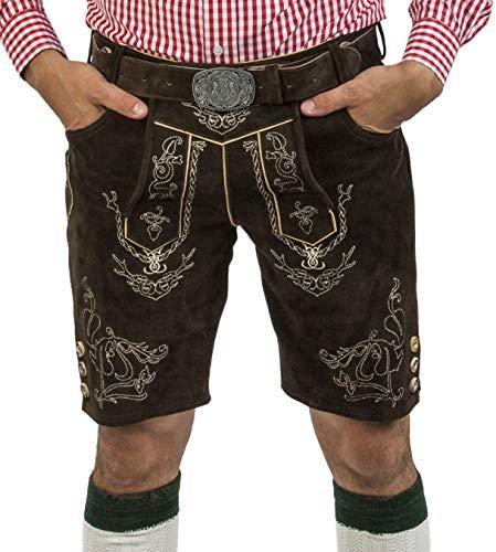 Herren Lederhose Wiesnjäger mit Trachtengürtel - Herren Trachtenlederhose Oktoberfest mit Gürtel - Trachtenhose kurz Gürtel (46, Schwarzbraun)