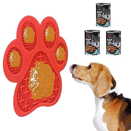 Pack Anti-ESTRÉS Perros - Alfombrilla + 3 Latas Pienso Húmedo Albóndigas Cerdo | Ideal para el baño, Cortar Pelo o Cortar uñas