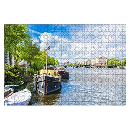 VJSDIUD Houten Puzzel 1000 Stukjes Typische Hollandse Huizen en Kanaal in het centrum van Amsterdam Sprookje Legpuzzels voor kinderen of volwassenen Educatief speelgoed Decompressie Game