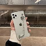 DEIOKL Funda de teléfono con Cadena de Perlas INS para iPhone 11 Pro MAX 12 Mini 7 8 6 s Plus X XR XS SE 2020 Pulsera de Amor con Cubierta Suave y Hermosa a la Moda, A, para iPhone 11