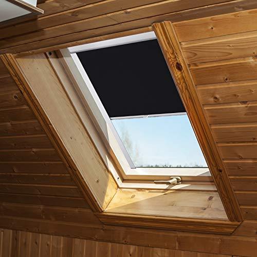 Aufun Dachfenster Rollo Verdunkelungsrollo Thermo Sonnenschutz für DKL GHL GGL GGU GPL GTL GXL Thermoschutz, passend für velux Fenstersysteme, Schwarz, M08/308