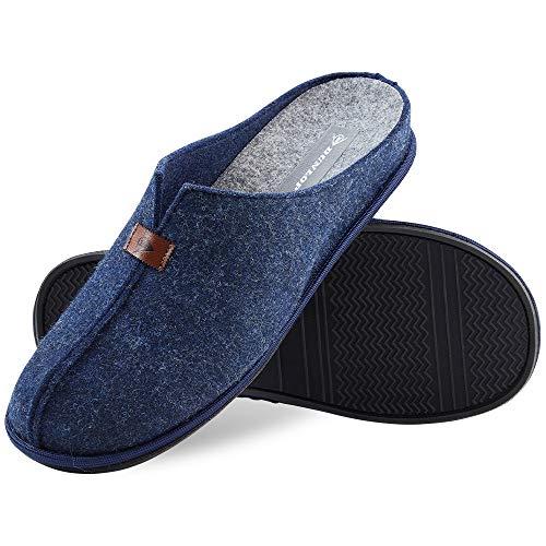 Dunlop Zapatillas Casa Hombre, Zapatillas Hombre Forro de Felpa, Pantuflas Hombre Suela Antideslizante, Regalos Para Hombre y Adolescentes Talla 41-46 (46, Azul, numeric_46)